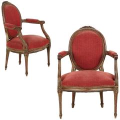 Vintage Pair of Louis XVI Style Gray Painted Fauteuil Armchairs