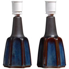 Pair of Small Blue Ceramic Table Lamps by Soholm, Denmark, 1960s