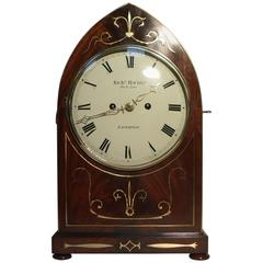 English William IV Mahogany and Brass Inlaid Bracket Clock