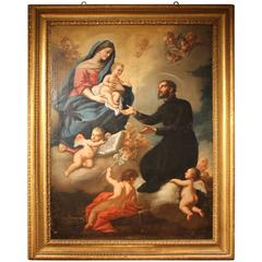 18th C. Antique Big Italian Oil on Canvas feat.The Virgin,Saint Gaetano, Putti