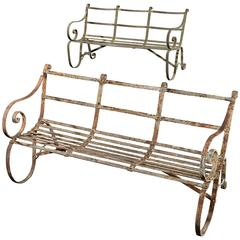 Pair of Painted Wrought Iron 'Cambridge' Garden Benches