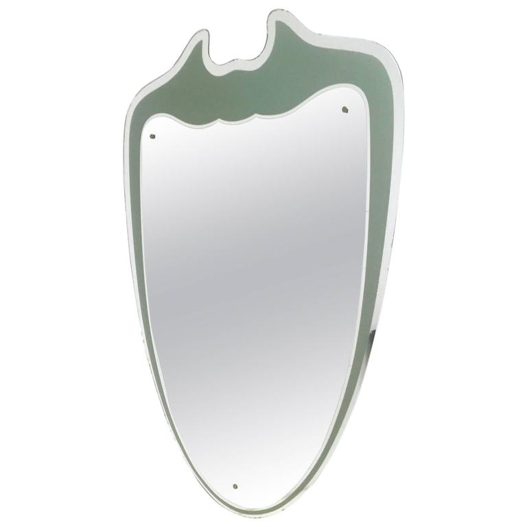 Large and Majestic Shield Shaped Wall Mirror, Italy, 1950s