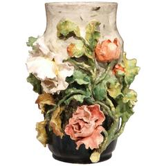 Large 19th Century French Hand-Painted Barbotine Vase with Flowers from Montigny