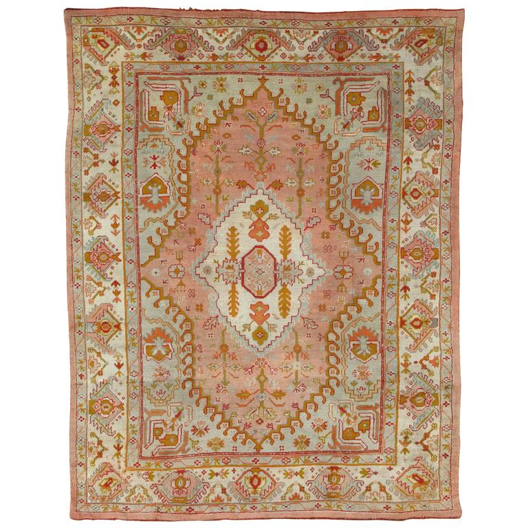Antique Oushak Carpet, Turkish Rugs, Handmade Oriental Rug Pink Blue Green Coral For Sale