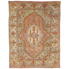 Antique Oushak Carpet, Turkish Rugs, Handmade Oriental Rug Pink Blue Green Coral