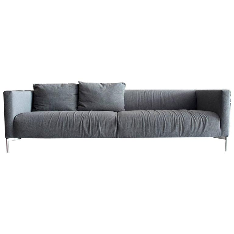 Piero Lissoni Twin Sofa For Living Divani Italy In Gray Maharam Wool Upholstery