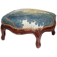 Mid-19th Century French Louis XV Carved Walnut Footstool with Aubusson Tapestry