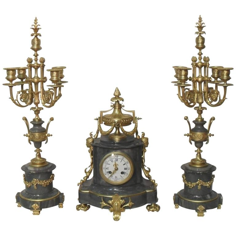 French 19th Century Louis XVI Style Marble and Bronze Gilt Clock Set
