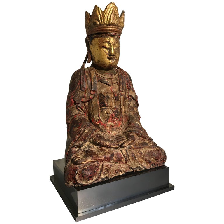 Chinese Ming Dynasty Carved, Painted and Giltwood Amitayus Buddha For Sale