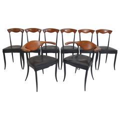 Set of Eight Sculptural Italian Klismos Dining Chairs