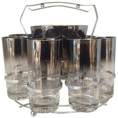 Dorothy Thorpe Set of Eight Glasses with Ice Bucket and Carrier