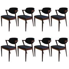 Set of Eight Rosewood Kai Kristiansen Model 42, Re-Upholstered