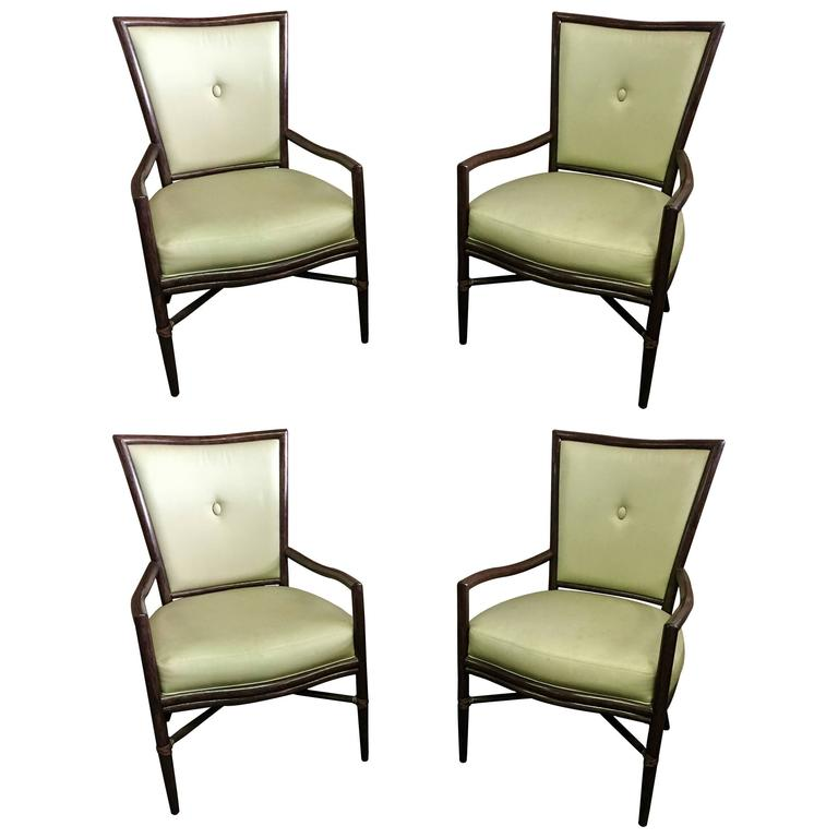 Pair Of Button Back Mcguire Dining Chairs By Barbara Barry
