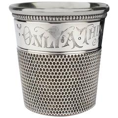 Art Deco Sterling Silver Only A Thimble Full Cocktail Measure or Shot Glass