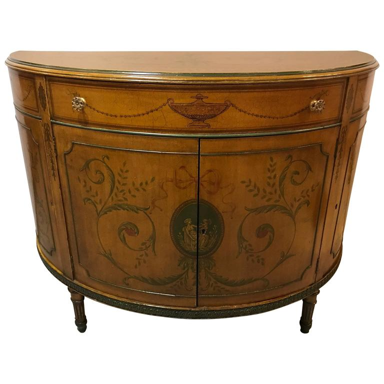 Adams style paint decorated demilune commode or chest with for Demilune console table with drawers