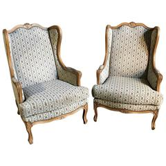 Pair of Antique Stripped French Louis XV Wingback Fruitwood Armchairs