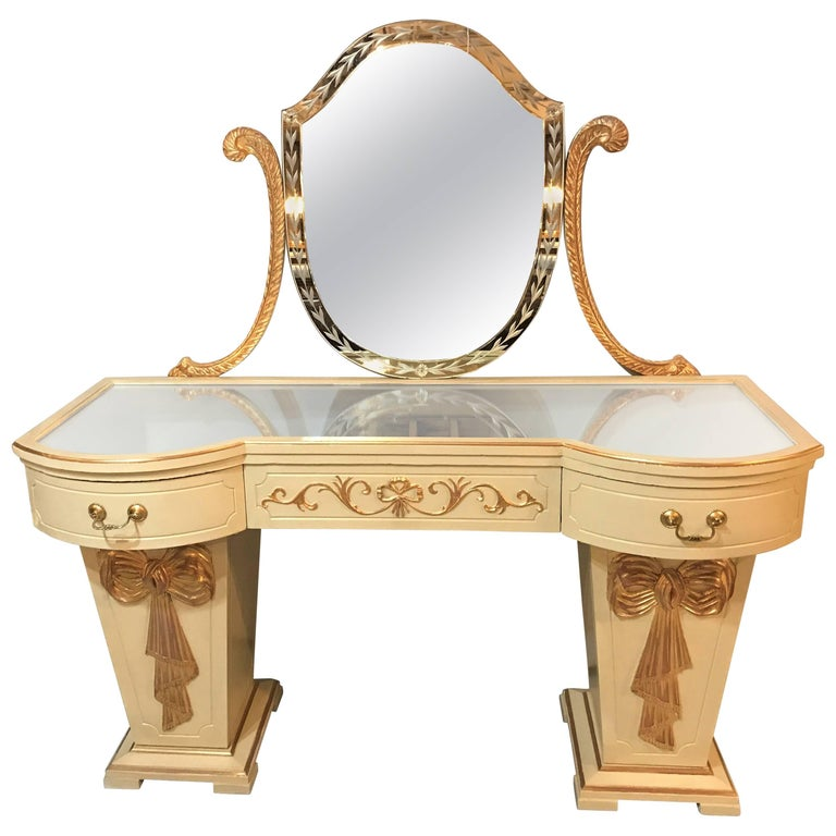 Hollywood Regency Grosfeld House Parcel Paint and Gilt Decorated Vanity or Desk For Sale