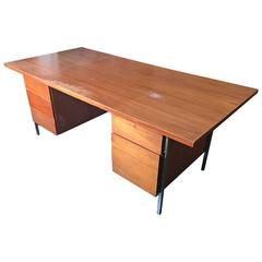 Florence Knoll Walnut Executive Desk for Knoll Associates, 1960