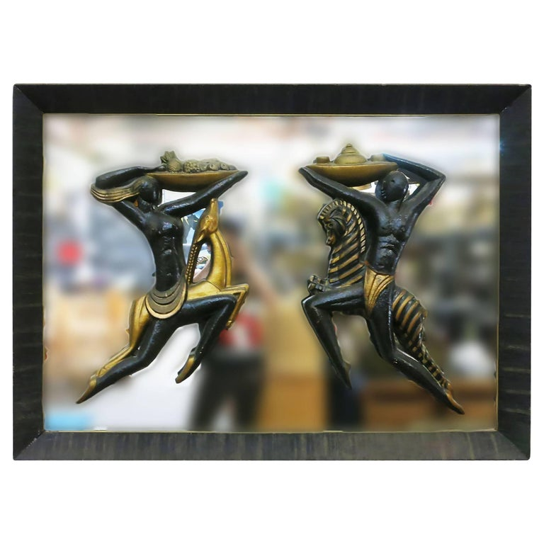 Mid-Century Wall Mirror with Carved Tribal Sculptures in the Center