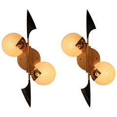 Pair of Two Globe Stilnovo Style Wall Sconces