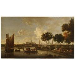 Antique Dutch River Scene Painting, Oil on Canvas Circa 1800