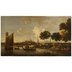 Antique River Scene Painting from Europe, Oil on Canvas, circa 1800