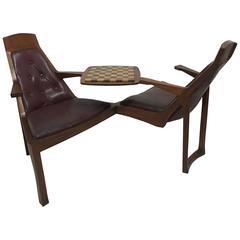 Danish Style Teak Duet Seat for Lovers of Chess Signed R Bellinger, 1977