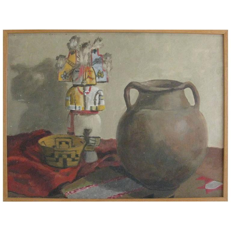 20th Century Oil Painting of Still Life with Native American Artifacts