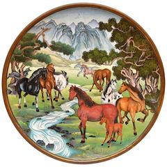 Unusual Equestrian Motif Cloisonné Charger, China, 20th Century
