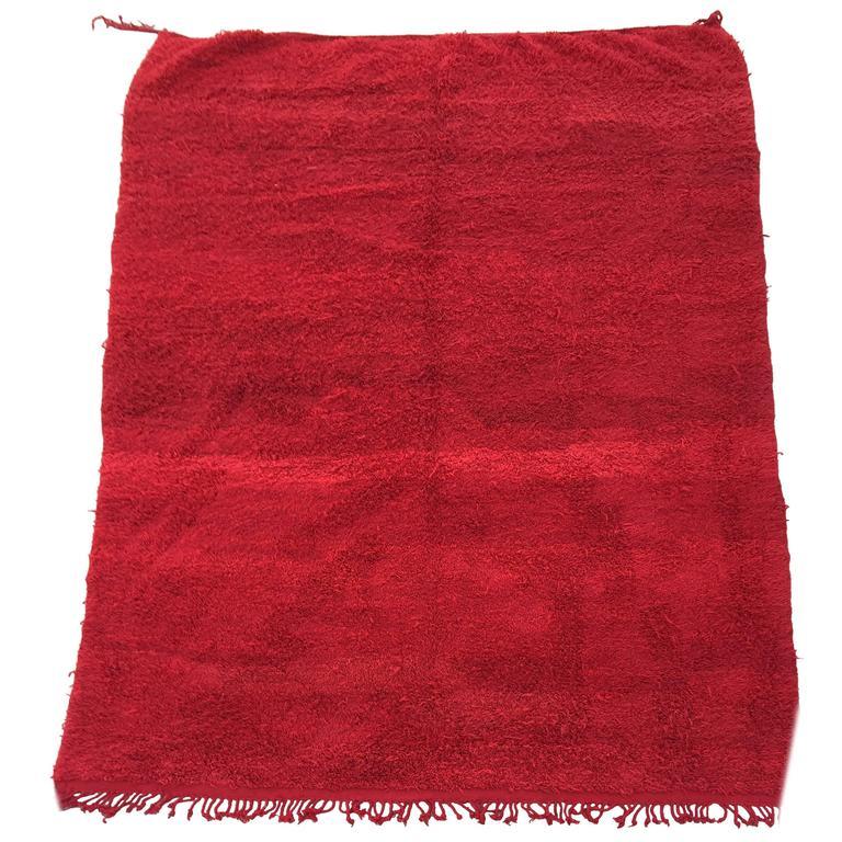 Vintage Red Tribal Moroccan Berber Rug