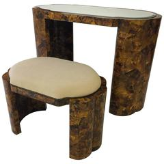 Maitland-Smith Tortoise Style Veneer Vanity and Stool