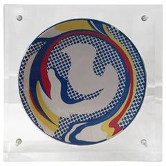 "Roy Lichtenstein ""Paper Plate"" Original Encased in Custom Lucite Box"