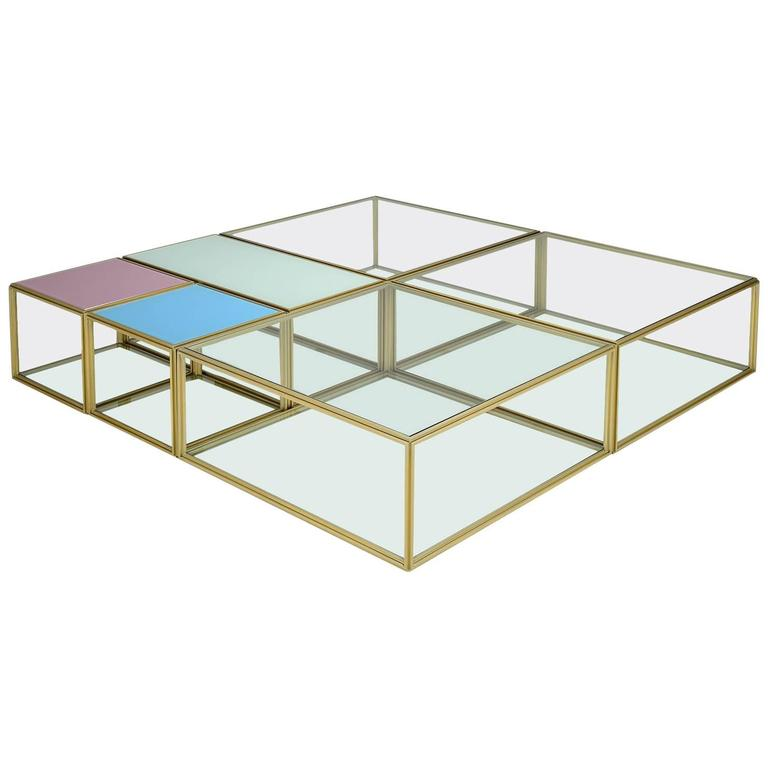 Bespoke Geometric 'Mondrian' Brass Low Modular Table, by P. Tendercool