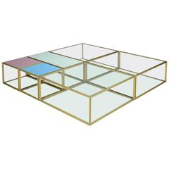 Bespoke Geometric 'Mondrian' Brass Low Modular Table, by P. Tendercool