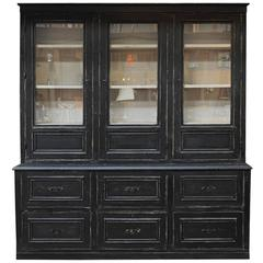 Large Buffet Two Corps Black Painted Pine Bookcase Cabinet, 1910s