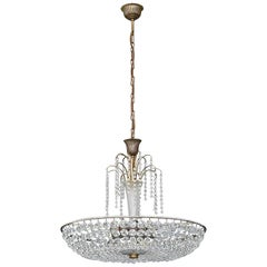 Great Lobmeyr Cascading Waterfall Chandelier Faceted Crystal Glass Brass, 1955