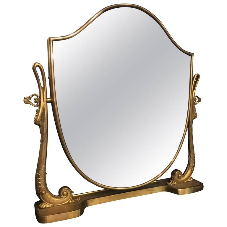 Italian Brass And Bronze Decorative Vanity Tabletop Mirror, 1960 For Sale