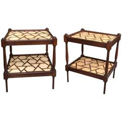 Pair of Hardwood Moroccan End Tables
