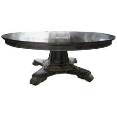 Massive Circular Solid Ebony Centre Table