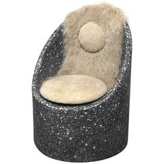 Sculptural Cozy Cave Chair in Black Cement/White Marble Terrazzo with Sheepskin