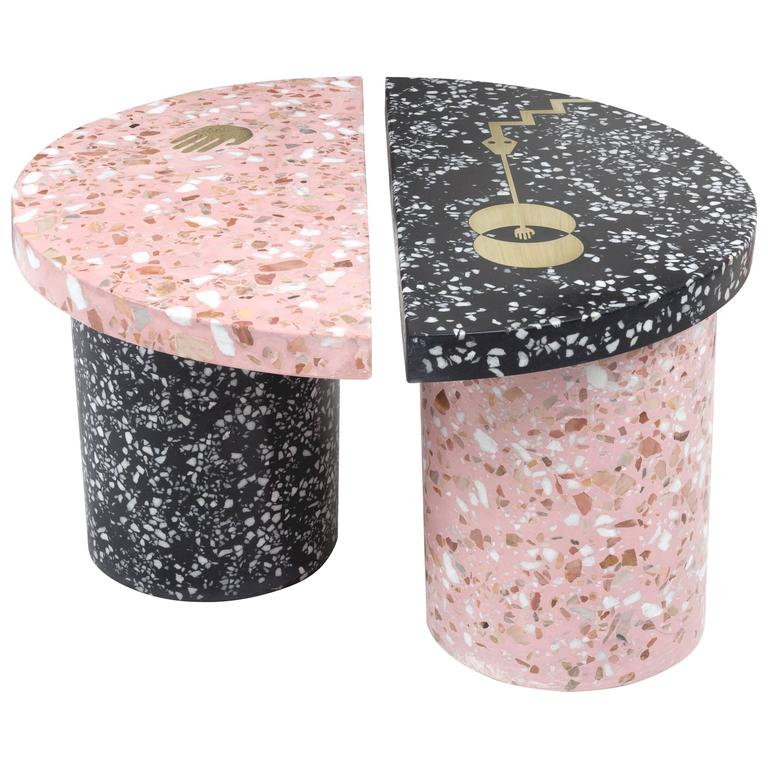 Yin Yang Tables in Pink and Black Cement Terrazzo with Brass Inlays