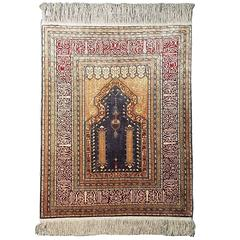 20th Century Kayseri Silk Prayer Rug with Gold Threads
