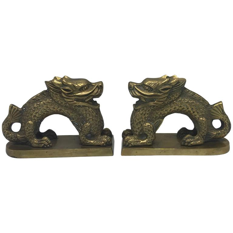 1960s Brass Asian Dragon Bookends, Pair