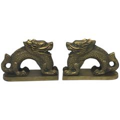 1960s Brass Chinoiserie Dragon Bookend Sculptures, Pair