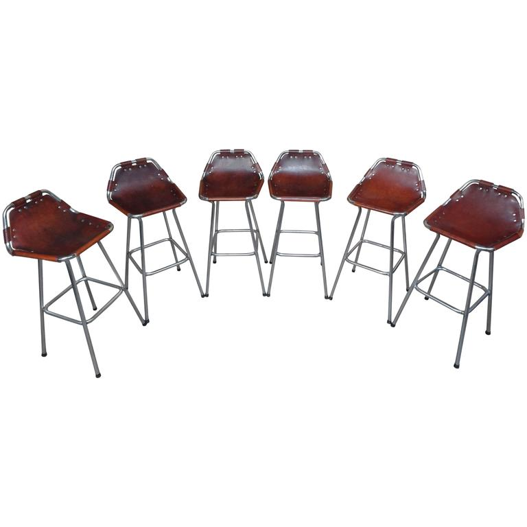 Sought after ''Hourglass Framed'' Six Leather Charlotte Perriand Stools Les Arcs