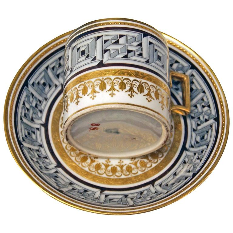 Vienna Imperial Porcelain Cup Saucer Sorgenthal Period Meander Ornament, 1800 1