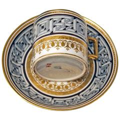 Vienna Imperial Porcelain Cup Saucer Sorgenthal Period Meander Ornament, 1800