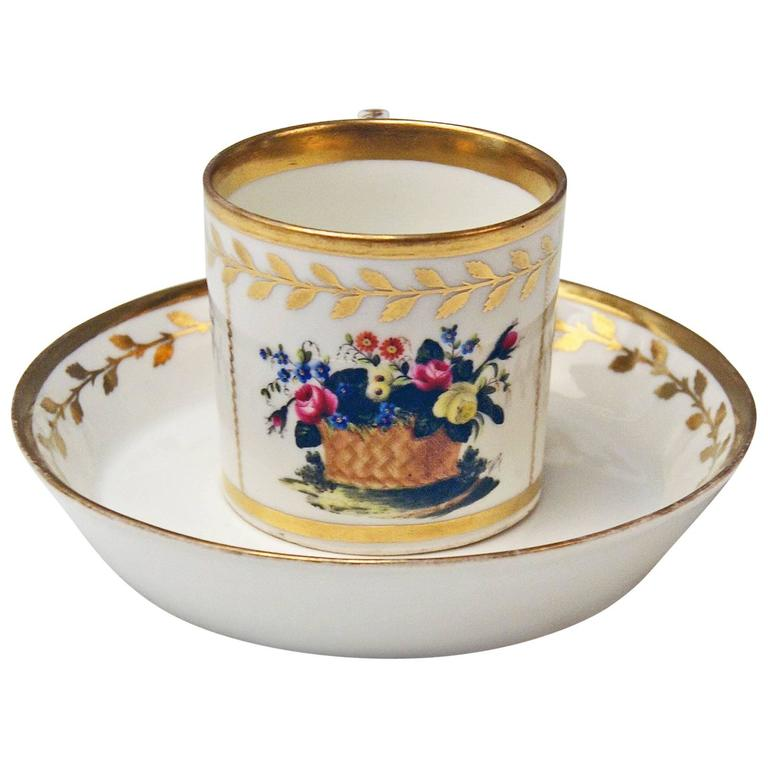 Vienna Imperial Porcelain Cup Saucer Golden Ornaments Dictum and Flowers, 1816 For Sale