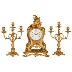 Louis XVI Style Ormolu Three-Piece Clock Set by Barbedienne