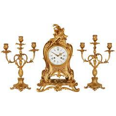Louis XVI Style Ormolu Three-Piece Clock Set by Barbedienne